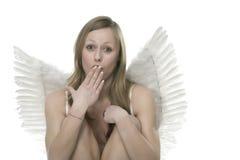 Vrouw met engelenvleugels Stock Afbeeldingen