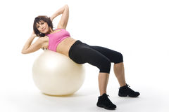 Vrouw met fitball Royalty-vrije Stock Fotografie