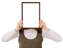 Vrouw met frame Stock Afbeelding