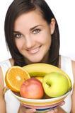 Vrouw met fruit Stock Afbeeldingen
