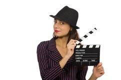 Vrouw met geïsoleerde filmdakspaan Stock Afbeelding