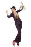 Vrouw met geïsoleerde geldzakken Stock Foto's
