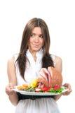 Vrouw met gebakken gesneden ham Royalty-vrije Stock Afbeeldingen