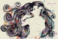 Vrouw met gedetailleerde haar en verf Stock Afbeeldingen