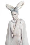 Vrouw met geit lichaam-kunst Stock Foto