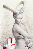 Vrouw met geit lichaam-kunst Stock Afbeeldingen