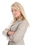 Vrouw met gekruiste wapens Stock Foto's