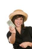 Vrouw met geld stock foto's