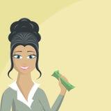 Vrouw met geld Stock Afbeelding