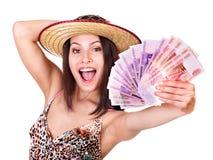 Vrouw met geld Russische roebel. Stock Afbeelding