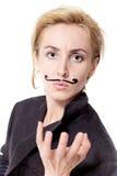 Vrouw met geschilderde snor Royalty-vrije Stock Foto's