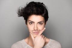 Vrouw met Getrokken Snorren Stock Afbeelding