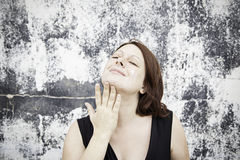 Vrouw met gezichtsroom Royalty-vrije Stock Fotografie