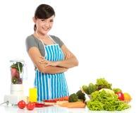 Vrouw met gezond voedsel Stock Afbeeldingen