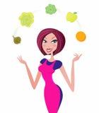 Vrouw met gezond voedsel die op wit wordt geïsoleerdi Stock Afbeeldingen