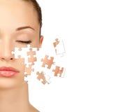Vrouw met gezonde huid stock foto's