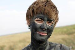 Vrouw met gezonde modder Stock Foto's