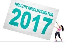 Vrouw met gezonde resolutie en 2017 Stock Foto's