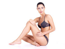 Vrouw met gezondheidslichaam en lange slanke benen Royalty-vrije Stock Fotografie