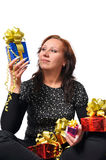Vrouw met gift Royalty-vrije Stock Afbeelding