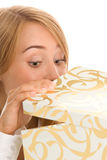 Vrouw met gift Royalty-vrije Stock Foto