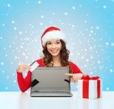 Vrouw met gift, laptop computer en creditcard Royalty-vrije Stock Afbeelding