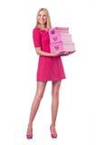 Vrouw met giftboxes Royalty-vrije Stock Afbeeldingen
