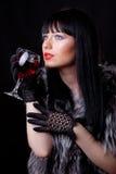 Vrouw met glas Stock Foto's