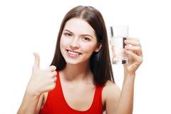 Vrouw met glas Water Stock Afbeeldingen