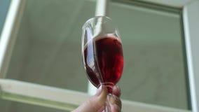 Vrouw met Glas Wijn stock footage