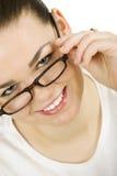 Vrouw met glazen stock afbeeldingen