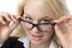 Vrouw met glazen Stock Foto