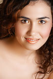 Vrouw met gouden samenstelling Royalty-vrije Stock Afbeelding