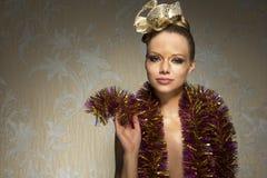 Vrouw met gouden samenstelling Royalty-vrije Stock Afbeeldingen