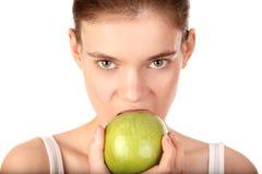 Vrouw met groene appel Royalty-vrije Stock Fotografie