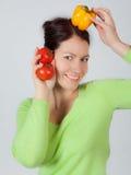 Vrouw met groenten Royalty-vrije Stock Foto