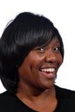 Vrouw met grote glimlach stock afbeeldingen