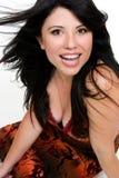 Vrouw met grote glimlach royalty-vrije stock afbeeldingen