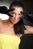 Vrouw met grote ogen Stock Foto's