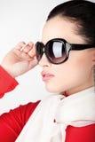 Vrouw met grote zonglazen Stock Fotografie