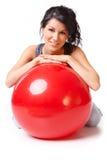 Vrouw met gymnastiekbal Royalty-vrije Stock Foto