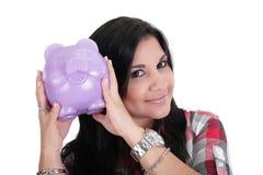 Vrouw met haar besparingen Royalty-vrije Stock Afbeelding
