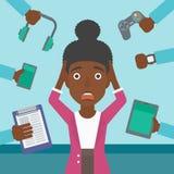 Vrouw met haar gadgets wordt omringd dat stock illustratie