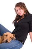 Vrouw met haar hond. royalty-vrije stock afbeelding