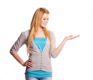 Vrouw met haar omhoog hand Stock Afbeelding