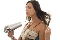 Vrouw met Hairdryer Stock Foto