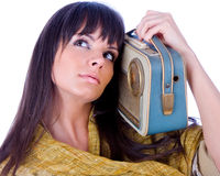 Vrouw met handbediende radio Royalty-vrije Stock Fotografie