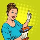 Vrouw met handboor royalty-vrije illustratie