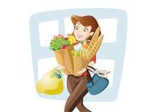 Vrouw met heel wat zakken Stock Fotografie