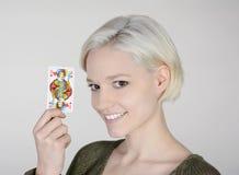 Vrouw met hefboom van hart Stock Fotografie